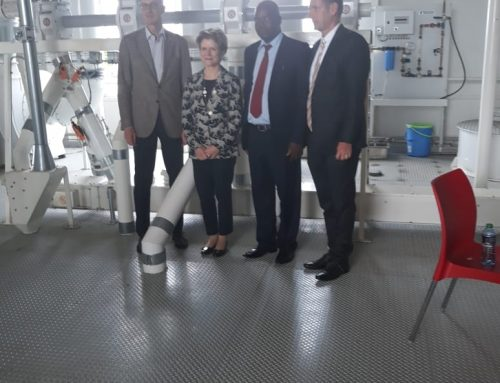 The Swiss Ambassador to Kenya Dr. Ralf, Swiss Minister for Economic Affairs Marie Gabrellie, Deputy Director TVET Stanley Maindi &  Head of Buhler East Africa Mathias Grabe during a visit of the Swiss Trade Delegation to the African Milling School in Ruiru on 13/11/2019