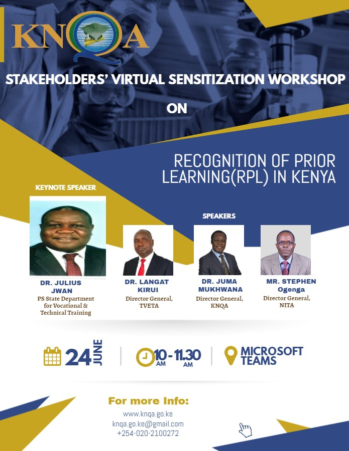 Stakeholders' Virtual Sensitization Workshop on Recognition of Prior Learning (RPL)