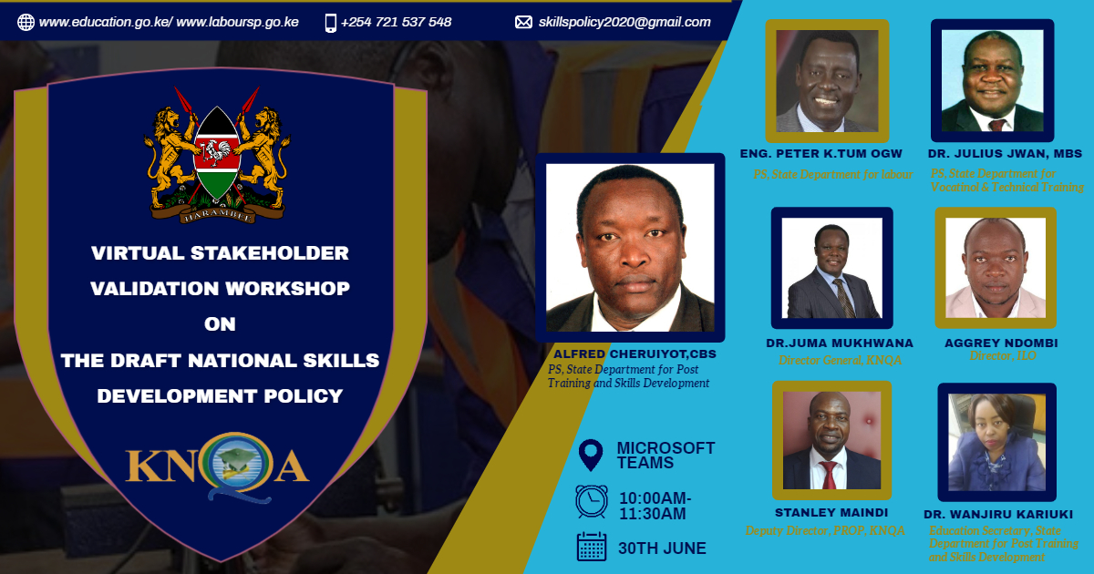 Join Virtual Stakeholder Workshop Validation Workshop for Draft National Skills Development Policy