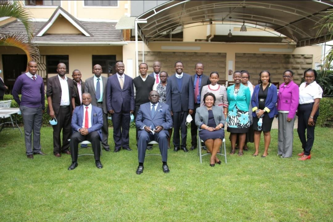 CS Education Professor George Magoha with members of the RPL Policy Framework Committee at Astoria Hotel, Naivasha.
