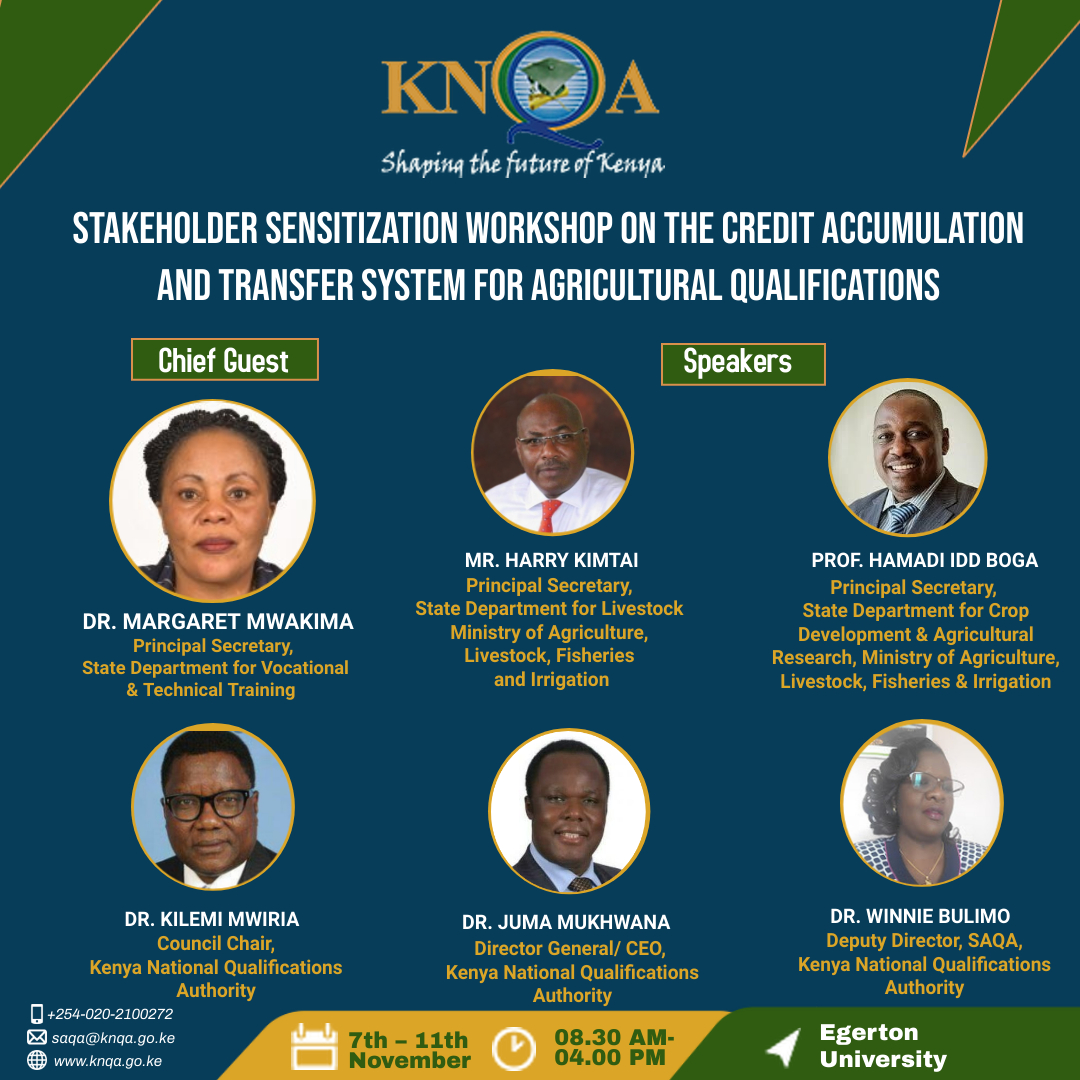 The KNQA has completed development of the Kenya Credit Accumulation and Transfer System  (KCATs) and guidelines for implementing the same in the Agricultural sectors.  A workshop has been organised at Egerton University from 7th to 11th November,  2021 to launch the same. This  will go along way in supporting student progression.