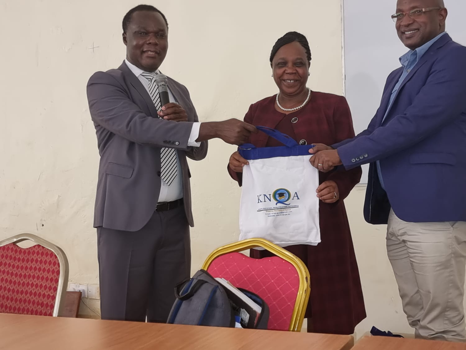 Dr Juma Mukhwana the DG KNQA with Prof Zipporah Nganga DVC Academic and Prof Reuben Muasya after delivering a Public Lecture at South Eastern Kenya University in Kitui County today. He emphasized that universities need to think outside the box to  guarantee their financial sustainability and transform Society.